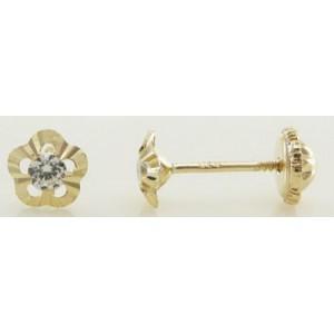 Boucles d'Oreilles à Vis - Or 9 carats - Fleurs - Vis -