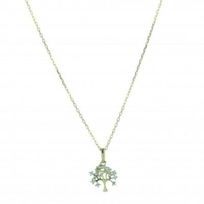 Chaîne et Pendentif Arbre de Vie - Or 9 carats -