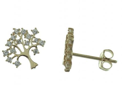 Boucles d'Oreilles Arbre de Vie - Or 9 Carats -