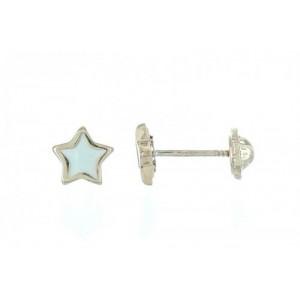 Boucles d'Oreilles Etoiles et Nacre - Or 9 carats - Vis -