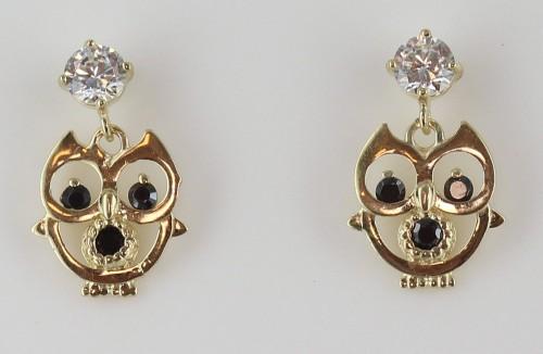 Boucles d'Oreilles Pendantes - Hibou - Or 9 carats -