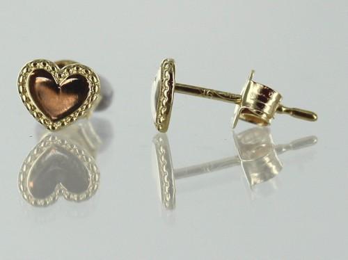 Boucles d'Oreilles Coeurs - Or 9 Carats -