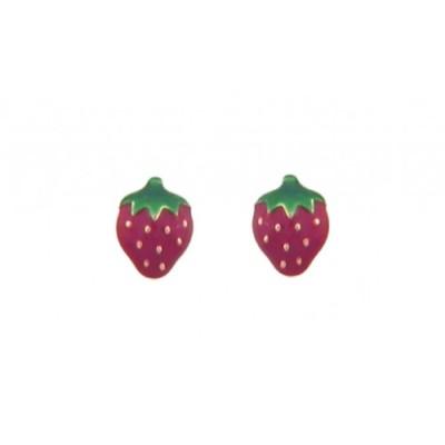 Boucles d'Oreilles Or 18 Carats - Fraises - Vis -