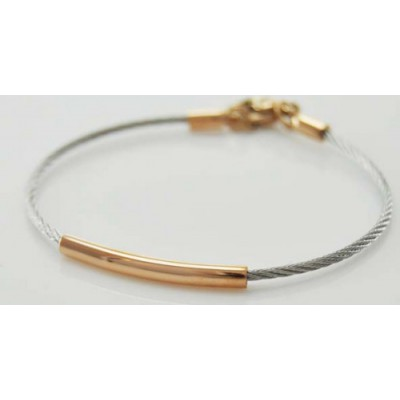 Bracelet Jonc Câble Acier et Rose Gold - Semi-Rigide -