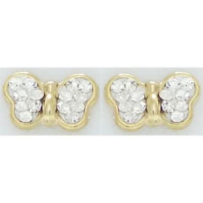 Boucles d'Oreilles Or 9 Carats et oxydes blancs - Papillons - A Vis -