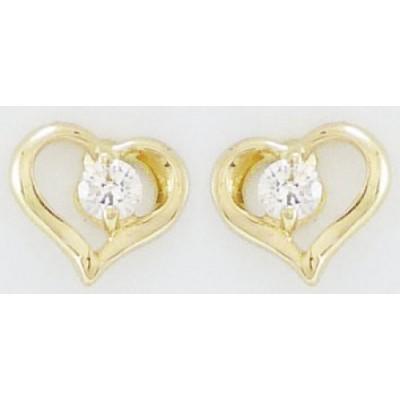 Boucles d'Oreilles Or 9 Carats - Coeurs - Oxydes Blancs - A Vis -