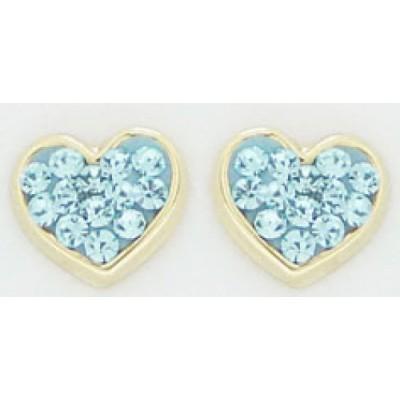 Boucles d'Oreilles Or 9 carats - Coeurs - Oxydes - A Vis -
