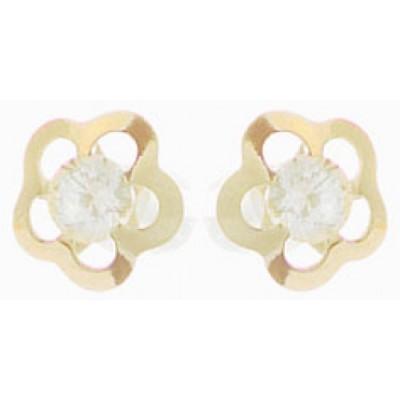 Boucles d'Oreilles Or 9 Carats - Fleurs - A Vis -