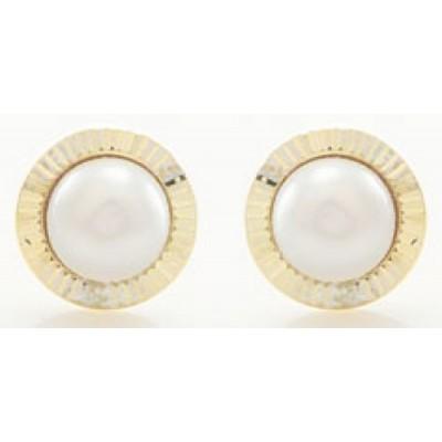 Boucles d'Oreilles Or 9 Carats - Perle de Culture -
