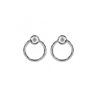 Boucles d'oreilles argent - Créoles et boules -