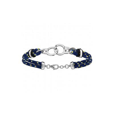 Bracelet Argent - Mode - Cordon Bleu Marine - Menottes -