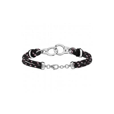 Bracelet Argent - Mode - Cordon Noir - Menottes -