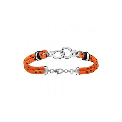 Bracelet Argent - Mode - Cordon Orange - Menottes -