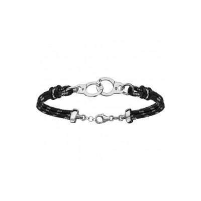 Bracelet Argent - Mode - Cordon Noir et gris - Menottes -
