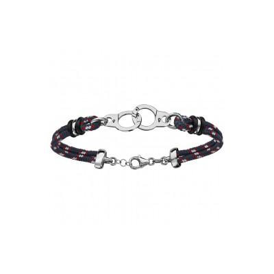 Bracelet argent - Mode - Cordon bleu - Blanc - Rouge - Menottes -
