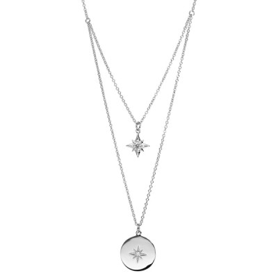 Collier Argent- Double Rang -