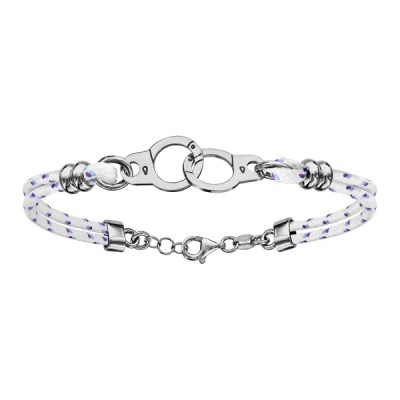 Bracelet Argent - Mode - Cordon Blanc - Menottes -