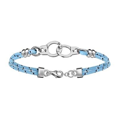 Bracelet Argent - Mode - Cordon bleu - Menottes -