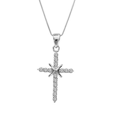 Chaîne et Croix argent - Religieux - Croix Oxydes blancs -