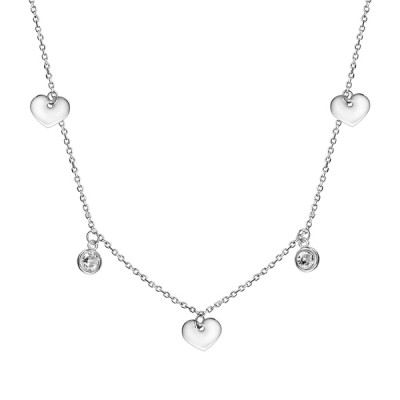 Collier Argent - Pampilles - Coeurs - Oxydes -