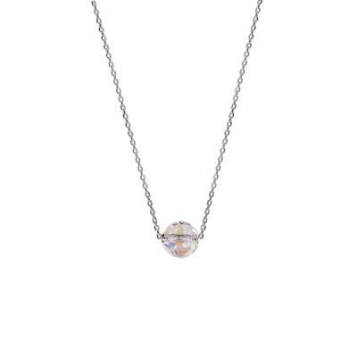 Collier Argent - Boule Cristal à facettes -