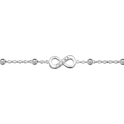 Chaîne de Cheville Argent - Motif Infini et Perles Argent -
