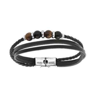 Bracelet Cuir et Acier - Mode - Boules Oeil de tigre -