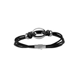 Bracelet Cuir et Acier - Grain de Café -