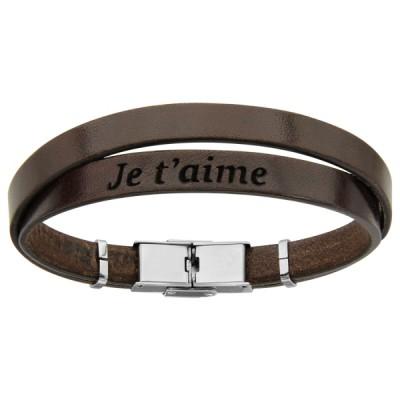 Bracelet Acier et Cuir - Je t'Aime -