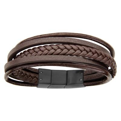 Bracelet Acier et Cuir - Multi-lacets -