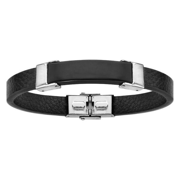 Bracelet Cuir et Acier - Plaque à Graver -