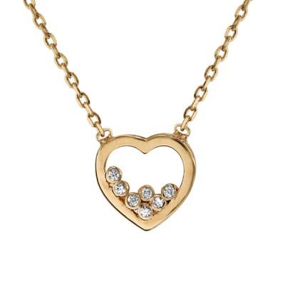 Collier Plaqué Or - Pendentif Coeur Serti d'Oxydes Blancs -