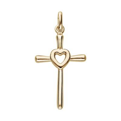 Croix Plaqué Or - Fantaisie - Coeur -